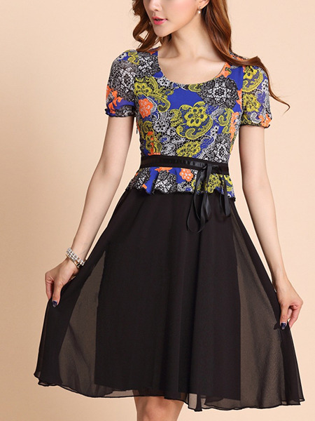 Black and Colorful Fit & Flare Above Knee Plus Size Dress for Casual Party