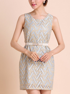 Blue and Cream Sheath Above Knee Plus Size Dress for Casual Evening Party