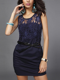 Blue Bodycon Above Knee Plus Size Lace Dress for Casual Evening Party