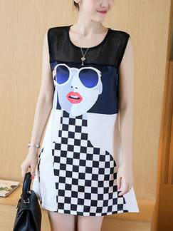 White Blue Black Shift Plus Size Above Knee Dress for Casual Party