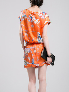 Orange Shift Above Knee Plus Size Dress for Casual Beach Party