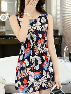 Blue Orange White Fit & Flare Above Knee Plus Size Dress for Casual Party Beach