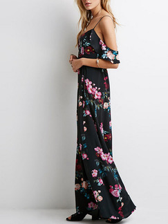 Black Maxi Plus Size Slip Floral Dress for Casual Beach