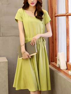 Green Shift Knee Length Plus Size Dress for Casual