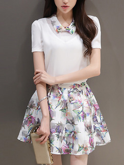 White and Pink Fit & Flare Above Knee Plus Size Shirt Floral Dress for Casual Party Evening