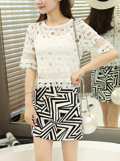 Black and White Sheath Plus Size Above Knee Lace Dress for Casual Office Evening