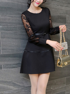 Black Fit & Flare Above Knee Plus Size Lace Long Sleeve Dress for Casual Office Evening