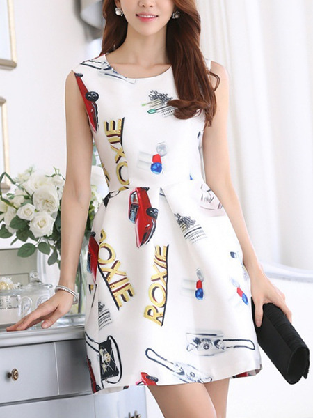 White Colorful Fit & Flare Above Knee Plus Size Dress for Casual Evening Party