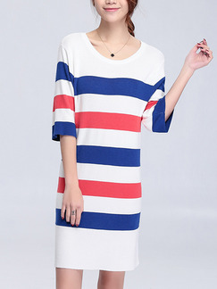 White Red Blue Shift Knee Length Dress for Casual