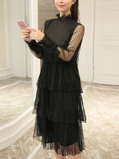 Black Knee Length Plus Size Lace Long Sleeve Dress for Casual Evening Party