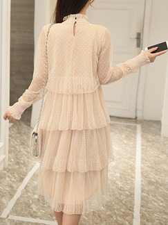Cream Knee Length Plus Size Lace Long Sleeve Dress for Casual Evening Party