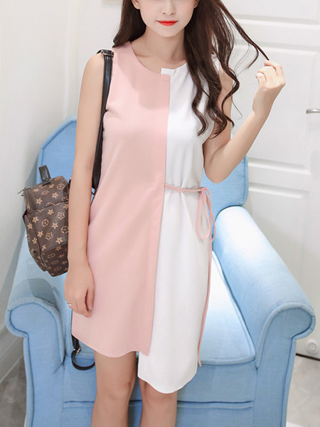 White and Pink Shift Above Knee Dress for Casual Evening Office
