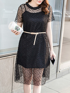 Black Shift Knee Length Lace Dress for Casual Evening