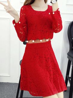 Red Fit & Flare Above Knee Plus Size Lace Long Sleeve Dress for Casual Office Evening