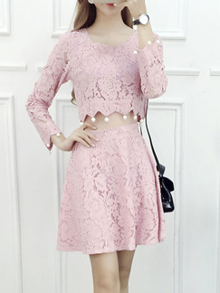 Pink Fit & Flare Above Knee Plus Size Lace Long Sleeve Cute Dress for Casual Evening Office