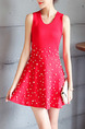 Red Fit & Flare Above Knee Dress for Casual Party Evening