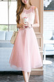 Pink Fit & Flare Knee Length Plus Size Cute Dress for Casual Evening