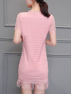 Pink Sheath Above Knee Plus Size Cute Lace Dress for Casual Office Evening