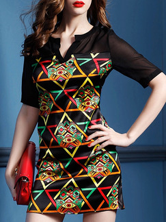 Black Colorful Bodycon Above Knee Plus Size Dress for Party Evening Cocktail