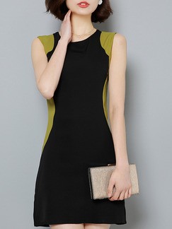 Black and Green Sheath Above Knee Plus Size Dress for Casual Evening Office