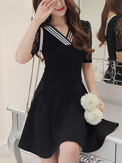 Black Fit & Flare Above Knee Plus Size Lace V Neck Dress for Casual Evening Party