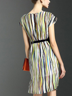Colorful Shift Plus Size Knee Length Dress for Casual Evening