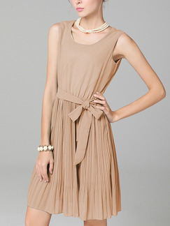 Beige Fit & Flare Above Knee Plus Size Dress for Casual Party Evening