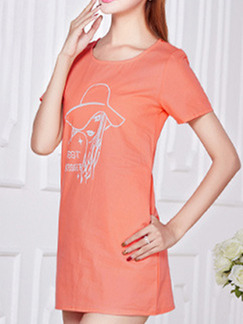 Orange Shift Above Knee Plus Size T-Shirt Dress for Casual