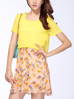 Yellow Colorful Two Piece Above Knee Plus Size Dress for Casual Party