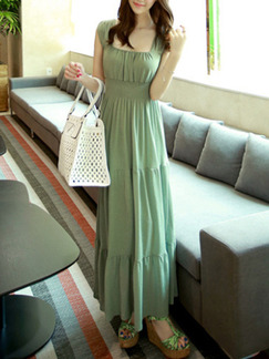 Green Maxi Plus Size Dress for Casual Beach