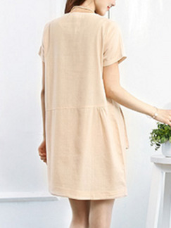 Cream Shift Above Knee Plus Size Dress for Casual