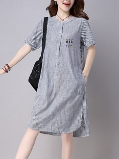 Blue White Stripe Shift Knee Length Plus Size Dress for Casual