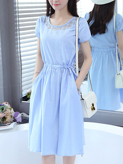 Blue Fit & Flare Knee Length Plus Size Dress for Casual