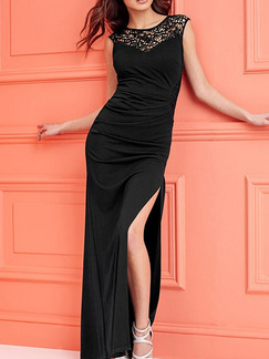 Black Bodycon Maxi Plus Size Dress for Prom Cocktail Ball