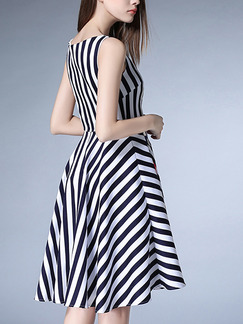 Black and White Stripe Fit & Flare Knee Length Plus Size Dress for Casual Party Evening