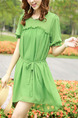 Green Shift Above Knee Plus Size Dress for Casual Party Beach