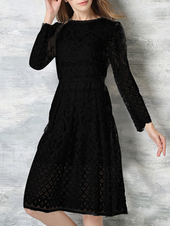 Black Shift Knee Length Plus Size Lace Long Sleeve Dress for Cocktail Evening Party