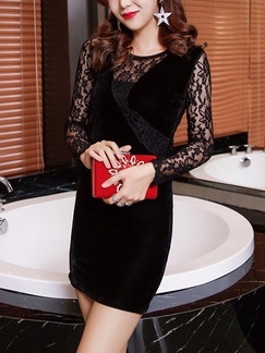 Black Bodycon Above Knee Lace Long Sleeve Dress for Party Evening Cocktail