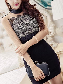 Black and White Bodycon Above Knee Long Sleeve Lace Dress for Party Evening Cocktail