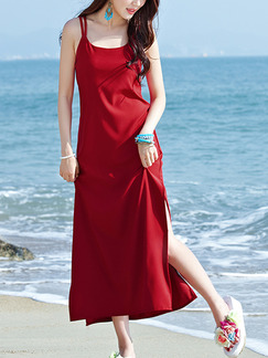 Red Shift Maxi Slip Plus Size Dress for Casual Beach
