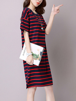 Blue and Red Stripe Shift Knee Length Plus Size Dress for Casual
