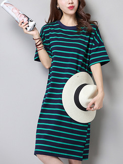 Blue and Green Stripe Shift Knee Length Plus Size Dress for Casual