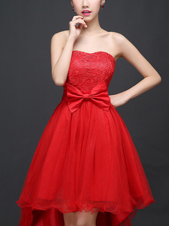 Red Fit & Flare Midi Strapless Lace Dress for Prom Bridesmaid Ball