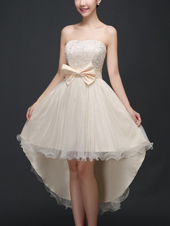 Beige Fit & Flare Midi Strapless Lace Dress for Prom Bridesmaid Ball