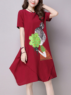 Red Shift Knee Length Plus Size Dress for Casual