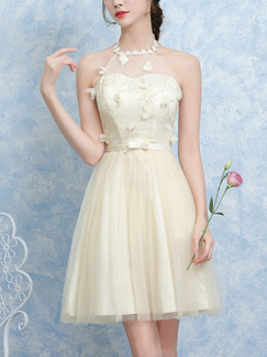 Cream Fit & Flare Above Knee Halter Dress for Bridesmaid Prom