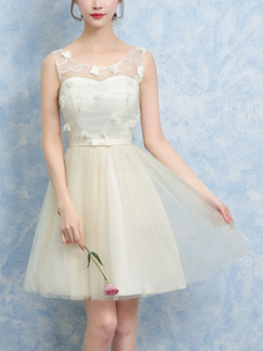 Cream Fit & Flare Above Knee Dress for Prom Bridesmaid