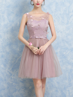 Pink Fit & Flare Above Knee Dress for Prom Bridesmaid