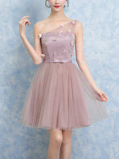 Pink Fit & Flare Above Knee One Shoulder Dress for Prom Bridesmaid