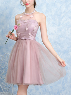 Pink Fit & Flare Above Knee Halter Dress for Prom Bridesmaid